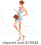 Royalty Free RF Clipart Illustration Of A Woman Shopping In A Short Blue Dress Full Body by OnFocusMedia