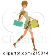 Royalty Free RF Clipart Illustration Of A Woman Shopping In A Skirt And Green Shirt Full Body