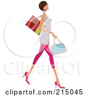 Royalty Free RF Clipart Illustration Of A Woman Shopping In Pink Leggings And A Striped Shirt Full Body