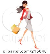 Royalty Free RF Clipart Illustration Of A Woman Shopping In A Gray Dress And Red Blazer Full Body
