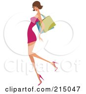 Royalty Free RF Clipart Illustration Of A Sexy Brunette Woman Shopping In A Pink Dress Full Body