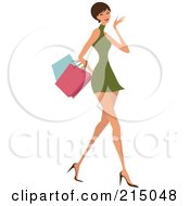 Royalty Free RF Clipart Illustration Of A Short Haired Woman Shopping In A Green Dress Full Body
