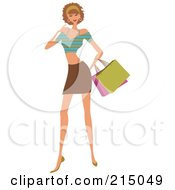 Royalty Free RF Clipart Illustration Of A Woman Shopping In A Brown Skirt And Crop Top Full Body by OnFocusMedia