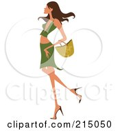 Royalty Free RF Clipart Illustration Of A Sexy Woman Shopping In A Green Skirt And Shirt Full Body