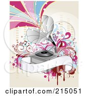 Royalty Free RF Clipart Illustration Of A Gramophone Background With Starry Waves And A Blank Banner On Antique White
