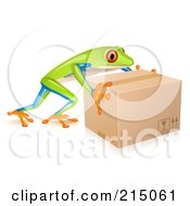 Cute Tree Frog Pushing A Parcel Box