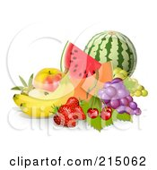 Royalty Free RF Clipart Illustration Of A Display Of Fruit Watermelon Cantaloupe Apple Grapes Cherries Strawberries And Bannas
