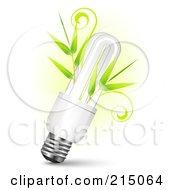 Neon Lightbulb With Bamboo Stalks