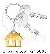 Royalty Free RF Clipart Illustration Of A Golden House Keychain On A Ring With Keys by Oligo