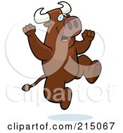 Royalty Free RF Clipart Illustration Of An Excited Bull Jumping