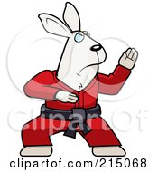 Royalty Free RF Clipart Illustration Of A Black Belt Karate Rabbit