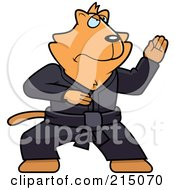 Royalty Free RF Clipart Illustration Of A Black Belt Karate Cat by Cory Thoman