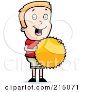 Royalty Free RF Clipart Illustration Of A Pleased Blond Boy Holding A Burst Seal