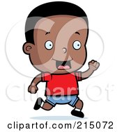 Royalty Free RF Clipart Illustration Of A Happy Black Toddler Boy Running
