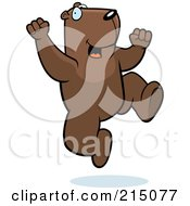 Royalty Free RF Clipart Illustration Of An Excited Groundhog Jumping by Cory Thoman
