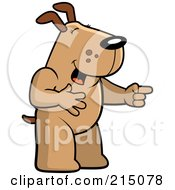 Royalty Free RF Clipart Illustration Of A Dog Laughing And Pointing by Cory Thoman