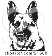 Clipart Illustration Of A Friendly German Shepherd Dog Panting With His Tongue Hanging Out Facing Front by David Rey