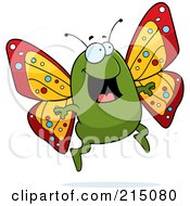 Royalty Free RF Clipart Illustration Of An Excited Butterfly Jumping by Cory Thoman