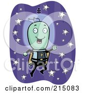 Royalty Free RF Clipart Illustration Of A Happy Alien Flying With A Jetpack by Cory Thoman