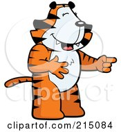 Royalty Free RF Clipart Illustration Of A Tiger Laughing And Pointing by Cory Thoman