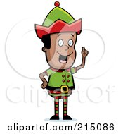 Royalty Free RF Clipart Illustration Of A Black Christmas Elf Man With An Idea by Cory Thoman