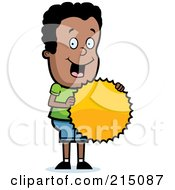 Royalty Free RF Clipart Illustration Of A Pleased Black Boy Holding A Burst Seal