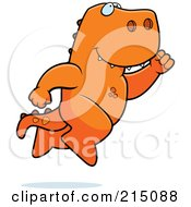 Royalty Free RF Clipart Illustration Of A Happy T Rex Leaping by Cory Thoman