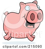 Royalty Free RF Clipart Illustration Of A Happy Pink Piggy Running