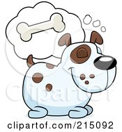 Royalty Free RF Clipart Illustration Of A Chubby Dog Dreaming Of A Crunchy Bone by Cory Thoman