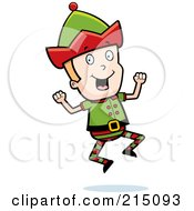 Royalty Free RF Clipart Illustration Of A Blond Christmas Elf Man Jumping by Cory Thoman