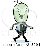 Royalty Free RF Clipart Illustration Of A Happy Green Alien Walking by Cory Thoman
