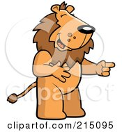 Royalty Free RF Clipart Illustration Of A Lion Laughing And Pointing by Cory Thoman