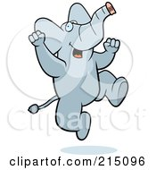 Royalty Free RF Clipart Illustration Of An Excited Elephant Jumping by Cory Thoman