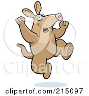 Royalty Free RF Clipart Illustration Of An Excited Aardvark Jumping by Cory Thoman