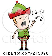 Royalty Free RF Clipart Illustration Of A Blond Christmas Elf Man Singing by Cory Thoman