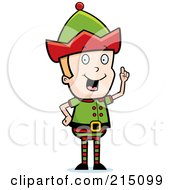 Royalty Free RF Clipart Illustration Of A Blond Christmas Elf Man With An Idea by Cory Thoman