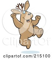 Royalty Free RF Clipart Illustration Of An Excited Jackalope Jumping by Cory Thoman