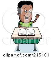 Royalty Free RF Clipart Illustration Of A Smart Black Boy Sitting At A Desk With His Hand Raised by Cory Thoman