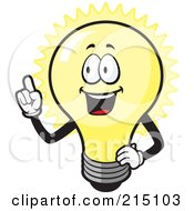 Royalty Free RF Clipart Illustration Of A Happy Bulb With An Idea