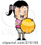 Royalty Free RF Clipart Illustration Of A Pleased Girl Holding A Burst Seal by Cory Thoman