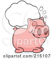 Royalty Free RF Clipart Illustration Of A Sleeping Pig With A Dream Cloud by Cory Thoman