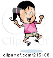 Royalty Free RF Clipart Illustration Of An Excited Girl Jumping
