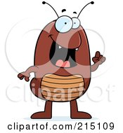 Royalty Free RF Clipart Illustration Of A Flea With An Idea Gesturing With A Finger by Cory Thoman