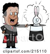 Royalty Free RF Clipart Illustration Of A Black Magician With A Rabbit In A Hat by Cory Thoman