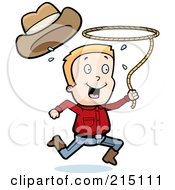 Happy Cowboy Running And Swinging A Lasso
