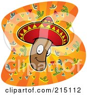Royalty Free RF Clipart Illustration Of A Mexican Jumping Bean Wearing A Sombrero