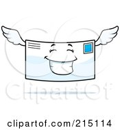 Royalty Free RF Clipart Illustration Of A Happy Smiling Winged Letter