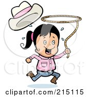 Royalty Free RF Clipart Illustration Of A Happy Cowgirl Running And Swinging A Lasso by Cory Thoman