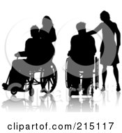 Royalty Free RF Clipart Illustration Of A Digital Collage Of Silhouetted Women And Men In Wheelchairs by KJ Pargeter