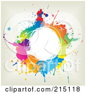Royalty Free RF Clipart Illustration Of A Colorful Circle Of Splatters Over Off White